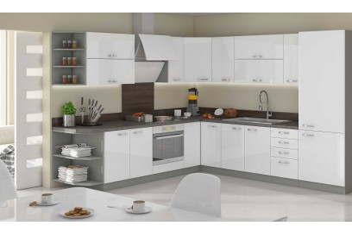 Kuchnia narożna AGA 1 biały połysk 260x270 cm