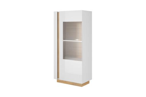 Witryna niska Arco 72 cm biały połysk/dąb grandson