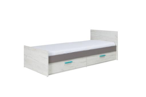 Łóżko Rest 90 cm dąb craft biały/popiel
