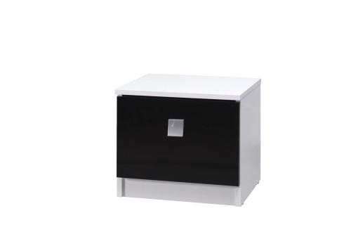 Szafka nocna Lux 41  cm biały/czarny połysk