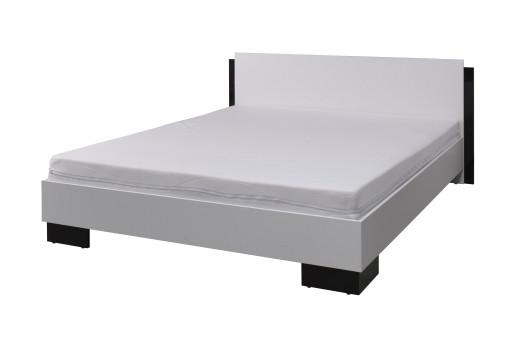 Łóżko Lux 177 cm biały/czarny połysk