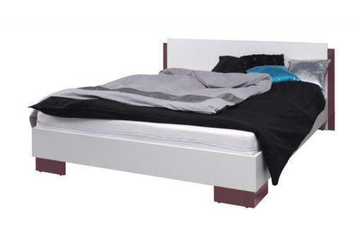 Łóżko Lux 177 cm biały/fioletowy połysk