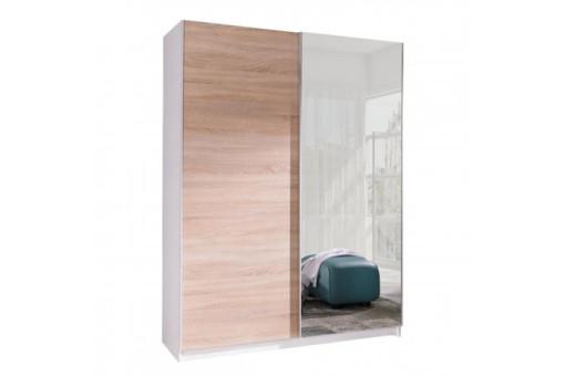 Szafa Batumi5 150 cm biały/dąb sonoma/lustro