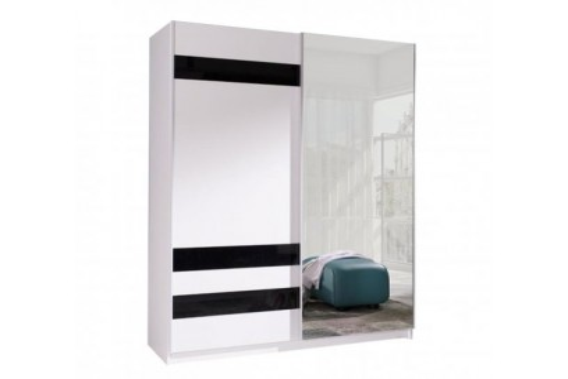 Szafa Batumi7 150 cm biały/czarne szkło lustro