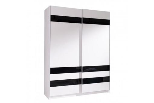 Szafa Batumi8 150 cm biały/czarne szkło/biały