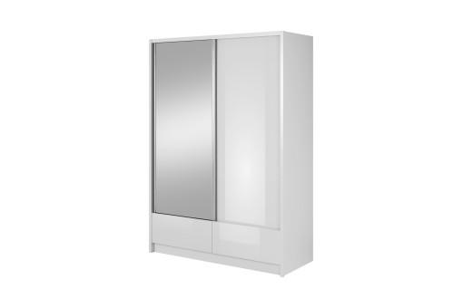 Szafa Aria z 1 lustrem 150 cm biały/biały połysk