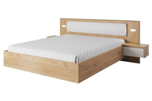 Łóżko ze stolikami Xelo 160 cm dąb craft złoty/biały